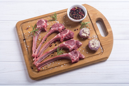 Raw ribs or rack of lamb and ingridient . Food background 스톡 콘텐츠