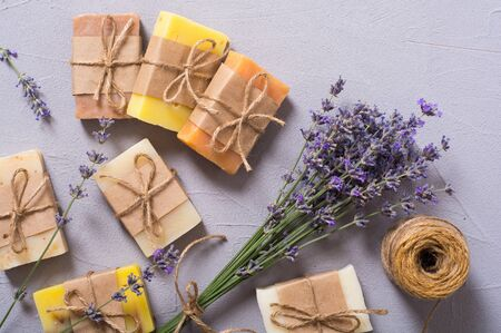 Handmade natural soap with lavender  . Spa photo on rustic background