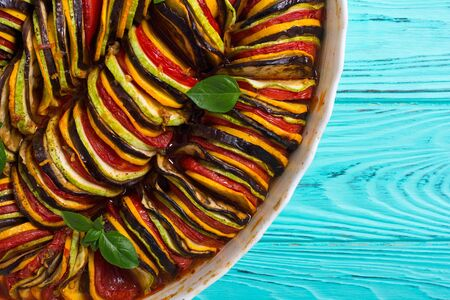 Traditional French cooked Provencal vegetable dish - Ratatouille. Food background Stock Photo