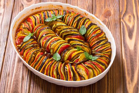 Traditional French cooked Provencal vegetable dish - Ratatouille. Food background Foto de archivo