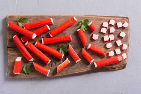 Crab sticks from fish protein (surimi). Seafood background