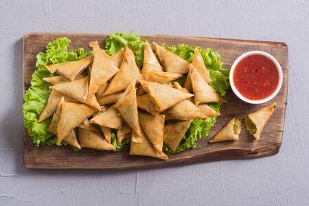 Ramadan iftar meal . Traditional asian vegetarian food samosa Stock Photo