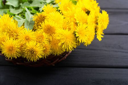 Basket with yellow dandelion flower . Nature background