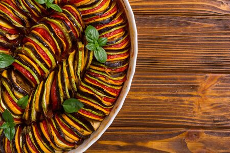 Traditional French cooked provencal vegetable dish - Ratatouille . Food background 写真素材 - 130667944