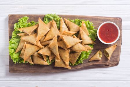 Ramadan iftar meal . Traditional asian vegetarian food samosa Stock fotó