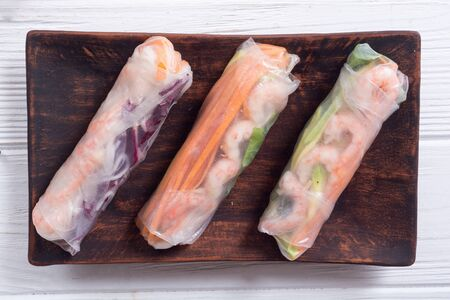 Vietnamese spring rolls with vegetables, rice noodles and shrimps Stock fotó - 144000241