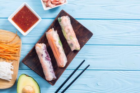 Vietnamese spring rolls with vegetables, rice noodles and shrimps