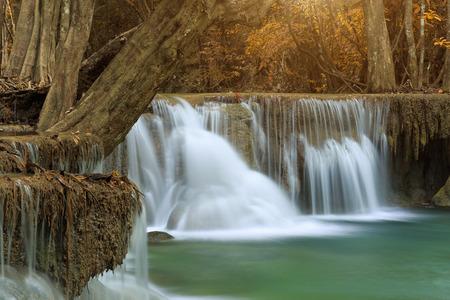huay mae khamin waterfall in thailand on autumn season Stock Photo