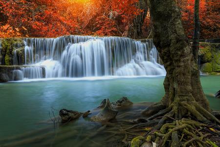 khamin: huay mae khamin waterfall in thailand on autumn season Stock Photo