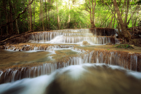 khamin: beauty sun ray over waterfall in nature, huay mae khamin national park thailand
