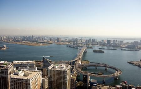 i hope: I hope Odaiba and Rainbow Bridge Aerial view of the city of Tokyo Stock Photo