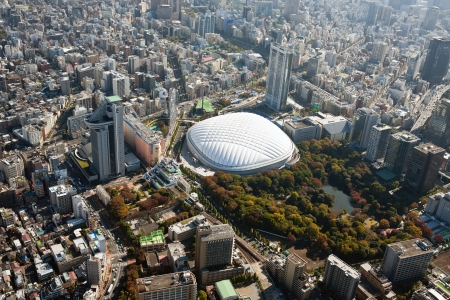 Tokyo Dome around seen from over Tokyo Stock Photo