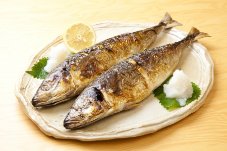 Grilled mackerel of two animals which had to dish photo