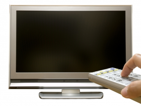 idiot box: Remote control and digital terrestrial TV Stock Photo