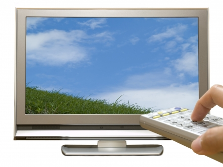 Remote control and digital terrestrial TV Stock Photo - 23274291