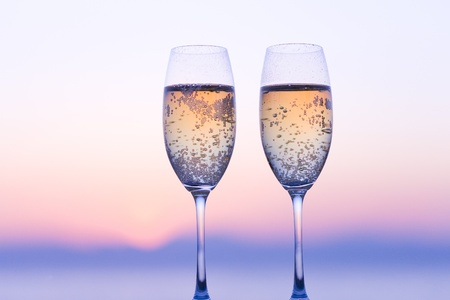 Champagne and sunset photo