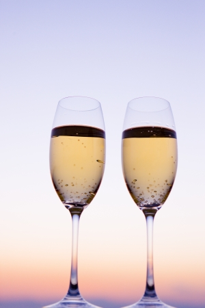 Champagne and twilight sky photo