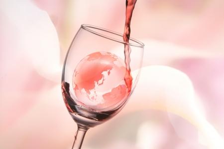 wine stocks: Globe and wine Stock Photo