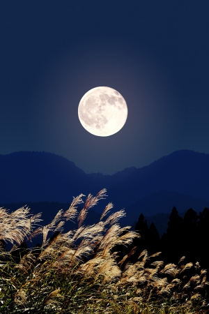 Full moon thinness and Stock Photo