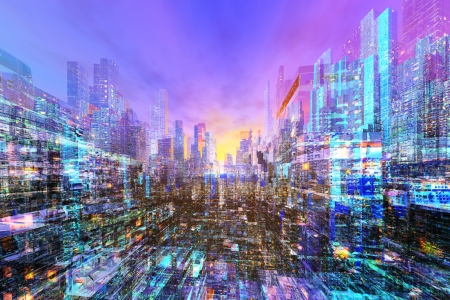 ample: Future City Stock Photo