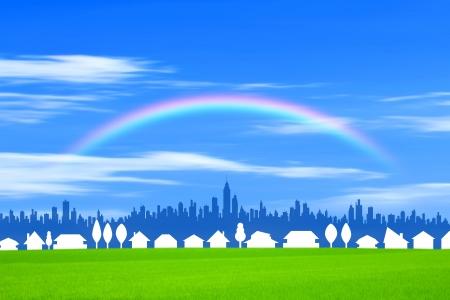 urbane: Rainbow city and Stock Photo