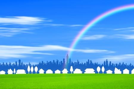urbane: Street and Mi  rainbow Stock Photo