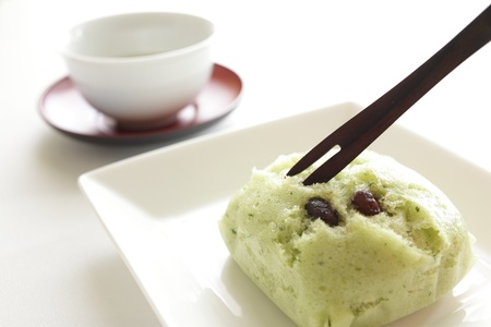 adzuki bean: Green tea and adzuki bean Full steam expands Case  Stock Photo