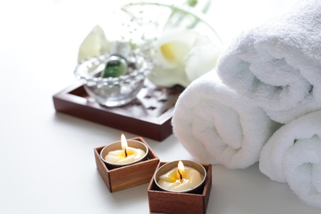 en suite: Aroma candle Stock Photo