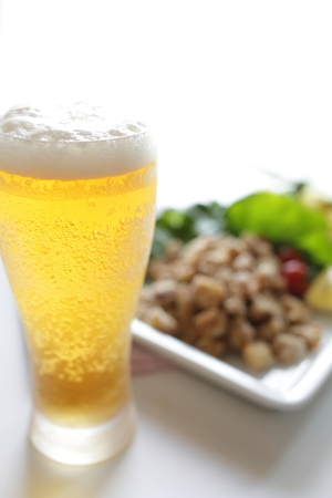 draft beer: Fried cartilage and draft beer Stock Photo