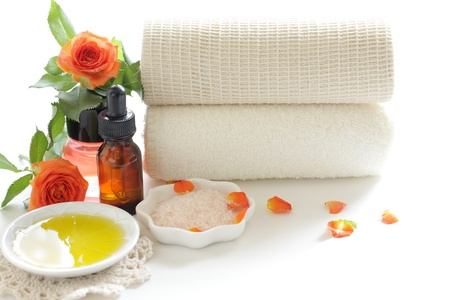massage oil: Image of spa of rock salt and massage oil Stock Photo