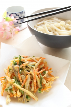 Noodles and tempura burdock photo