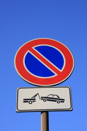 traffic violation: No parking signs Stock Photo