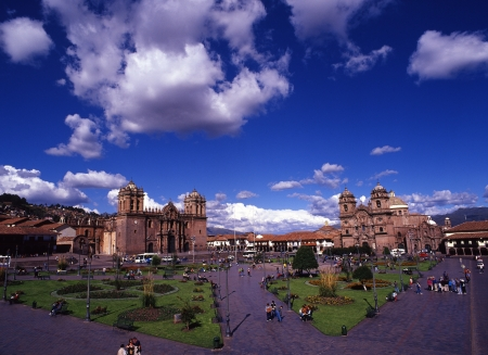 plaza de armas: Jesus Church and the Plaza de Armas of Cusco world heritage Stock Photo