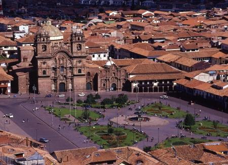 plaza de armas: World Heritage city Cusco Plaza de Armas distant view Stock Photo
