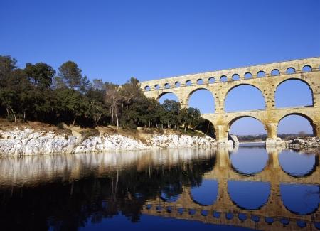 riverine: World Heritage Pont du Gard Stock Photo