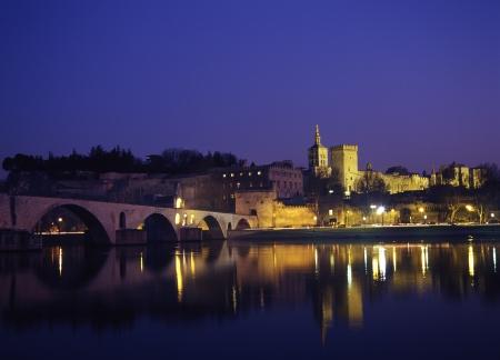 riverine: Pont Saint-Benezet and Avignon Popes Palace Stock Photo