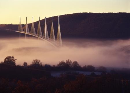 Millau bridge in morning haze Stock Photo