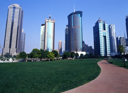 inorganic: As Shanghai high-rise Building Group Stock Photo