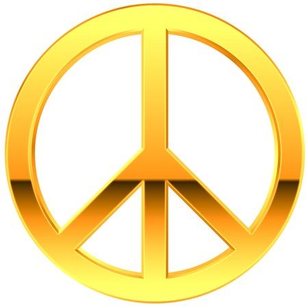 peace symbol: Peace Symbol Gold diagonal