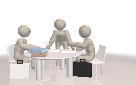 roundtable: Meeting image of three people is carried out at the Round Table Stock Photo