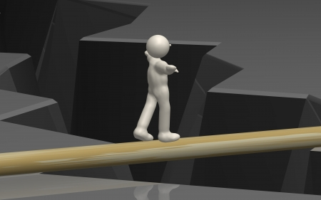 desperation: CG image of a dangerous tightrope