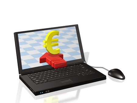 remittance: CG image that you want to transfer the euro on the Internet