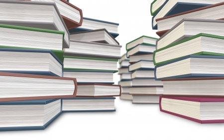 stowing: CG of the hardcover books that pile up Stock Photo