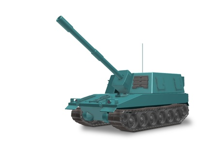 gunfire: 3DCG of self-propelled artillery of fictional defunct