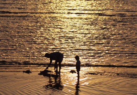 outdoor pursuit: Sea sunset Stock Photo