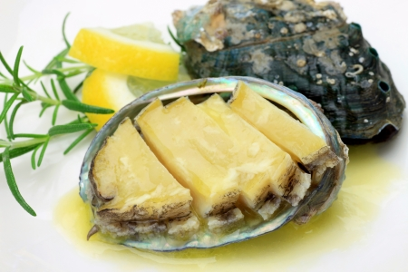 Butter grilled abalone Stock Photo
