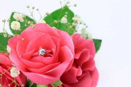 Rose and diamond ring photo