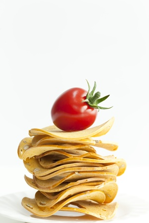 ripeness: Cherry Tomato and Rusk Stock Photo