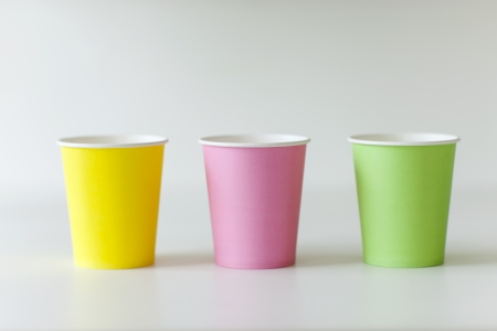 knack: Paper cups 3 colors Stock Photo