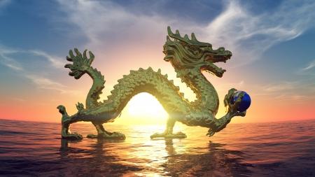 horizon over water: Dragon